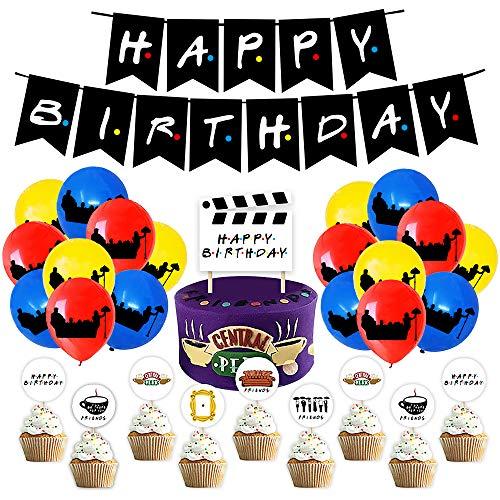 Decorazioni Compleanno Friends TV Show Palloncini Forniture per Compleanno Palloncini Happy Birthday Banner Scheda Etichetta Torta Foto Props Forniture per Feste