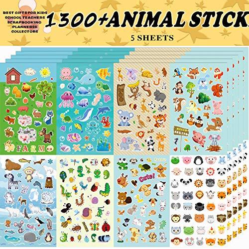 Aufkleber Kinder,Tieraufkleber, Aufkleber für Kinder-Sortiment 1300 PCS, 8 Themen für Kinder, Lehrer, Eltern, Großeltern, Kinder, Handwerk, Schule, Scrapbooking, Geschenkidee für Kinde