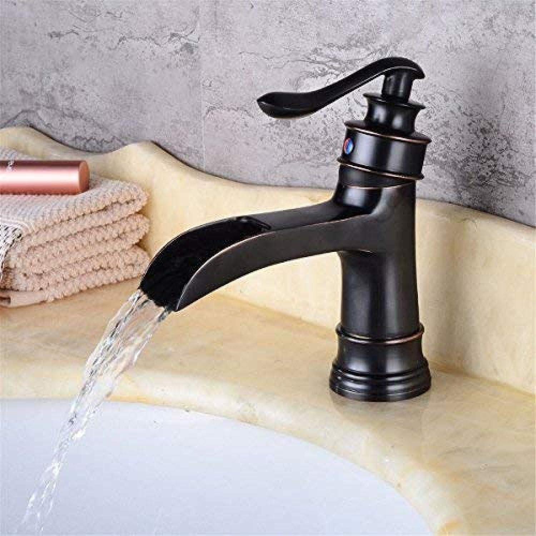 Waschbecken Messing Retro Blender Messing Struktur Poliert Retro Schwarz Wasserfall Wasserhahn     Badezimmer-Gegenhahn-heies und kaltes Wasser