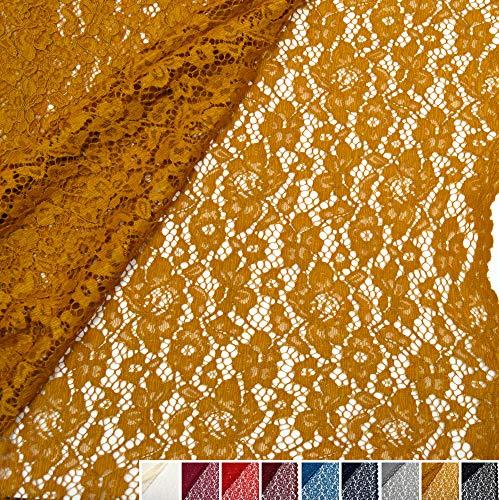 MAGAM-Stoffe Carmen Spitzenstoff Blumen-Spitze Bekleidung Deko Meterware 50cm (8. Gold)