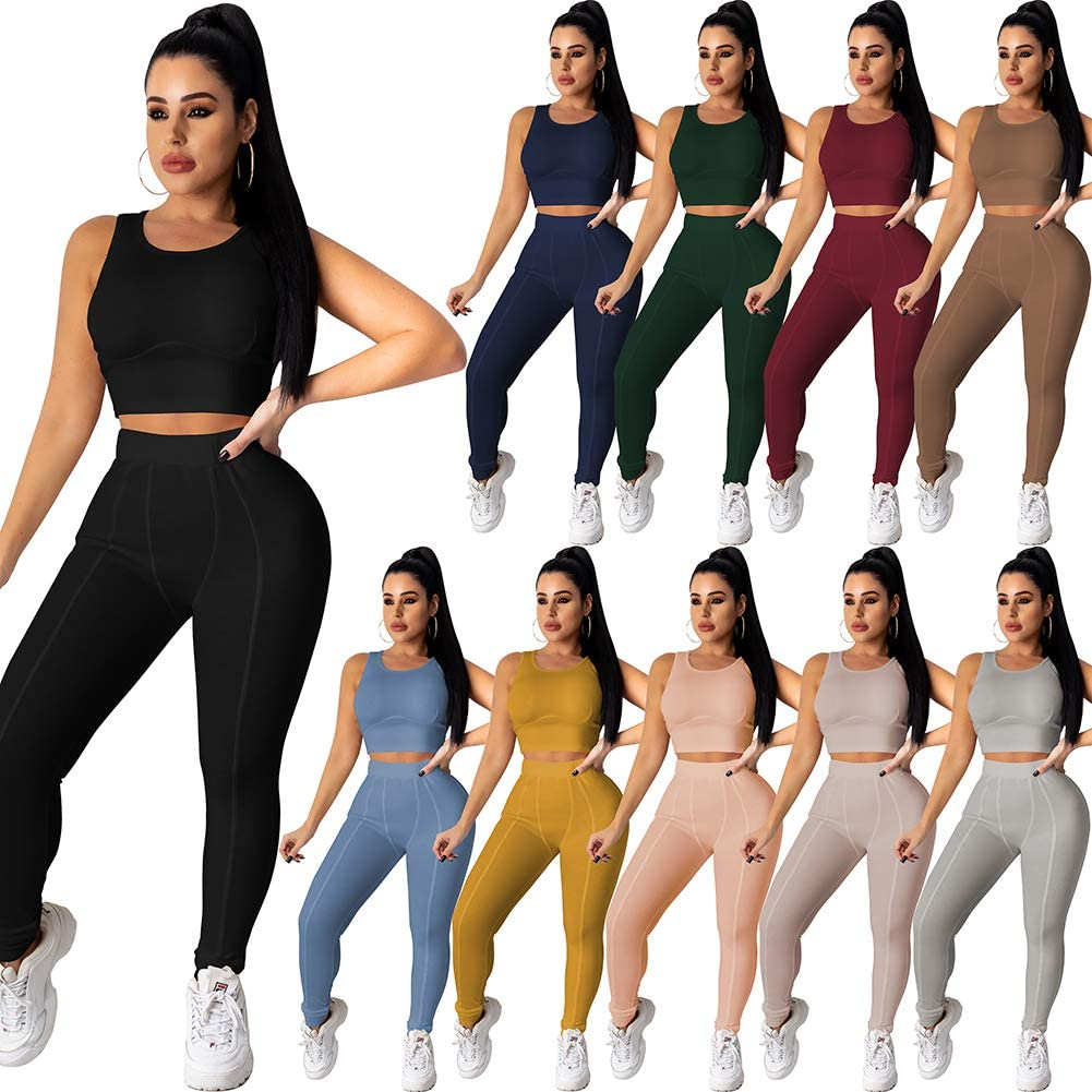 AOZZO Womens 2 Piece Workout Outfit Seamless Crop Tank Tops High Waist Yoga Legging Running Sets Sport Tracksuit
