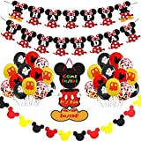 Decoraciones de Cumpleaños de Pequeño Ratón Mouse,Artículos para la Fiesta de Mouse,Pancarta de Feliz Cumpleaños,Globos y Adornos para Tartas para Cumpleaños,Baby Shower