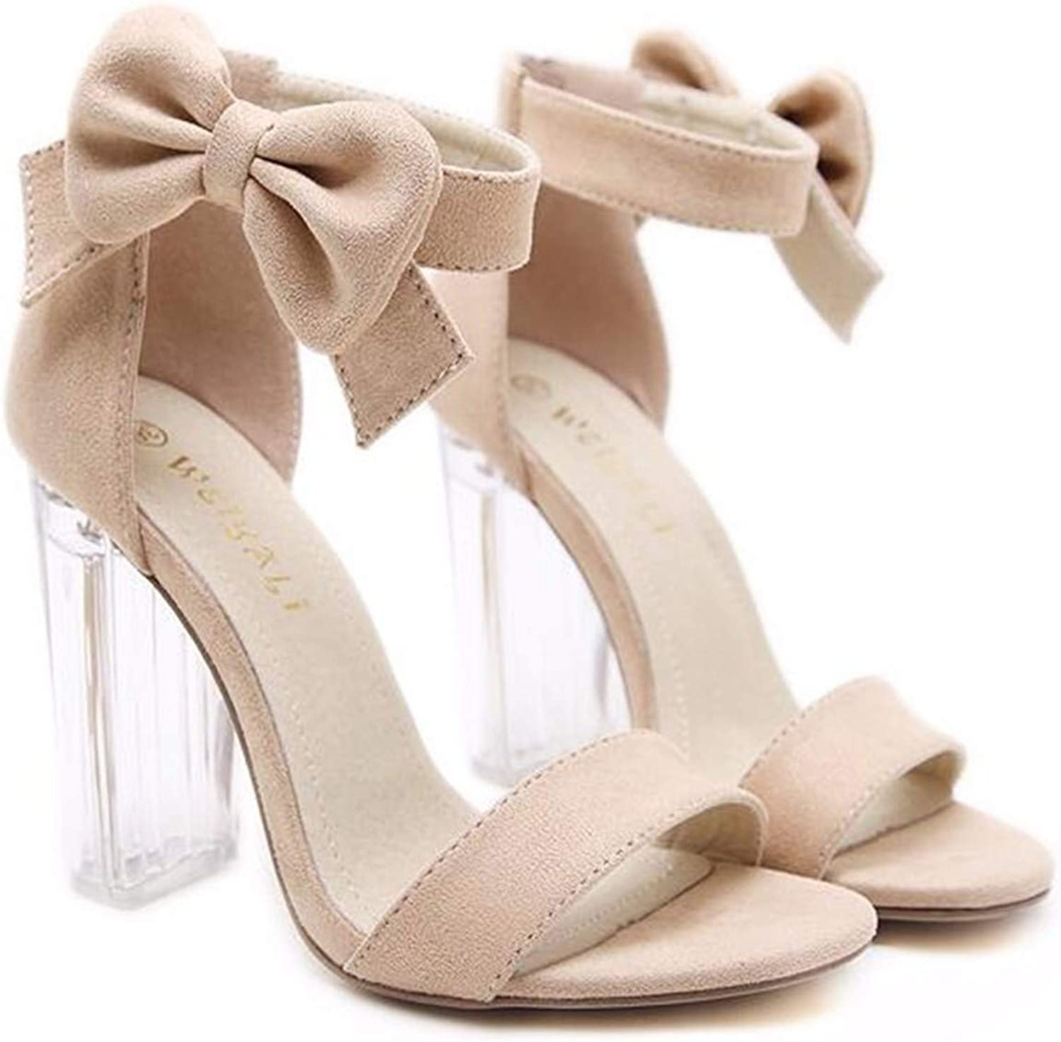 GTVERNH Women's shoes Fashion Buckles Bow Tie Crystal Heel 11Cm High Heel Sandals Elegant Temperament Toes Women's shoes.