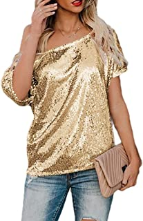 Ptyhk RG Womens Solid Color Sequin Blouse Short Sleeve Oversized Glitter T-Shirt