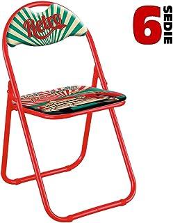 Bakaji - Juego de 6 sillas Acolchadas Plegables para Ahorrar Espacio Color Estructura Gris Plata Silla de Metal (Rojo Re...