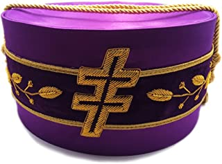 33rd Degree Scottish Rite Purple Masonic Ceremonial Hat with Patriarchal Cross and Vinework