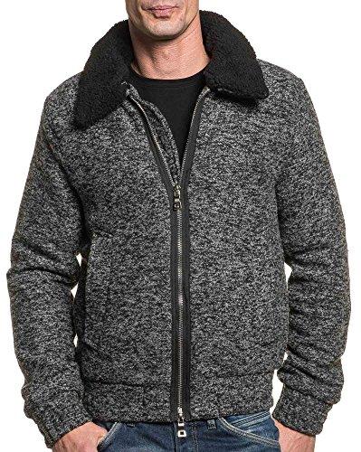 Gov Denim–Giubbotto Uomo Grigio Melange con zip e collo pelliccia grigio Medium