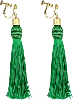 Bohemian Green Long Tassel Silk Fringe Thread Clip on Earrings Oval Knot Prom Bar for Girls Women