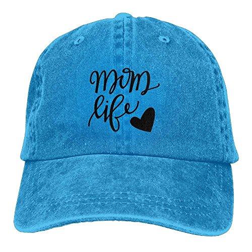 Hoswee Baseballmütze Hüte Kappe Mom Life Heart Unisex Denim Baseball Cap Adjustable Snapback Hats
