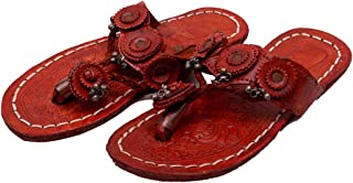 Indian Handicraft Synthetic Leather Women\Girl Kolhapuri Slippers/Flat Chappals Brown Color