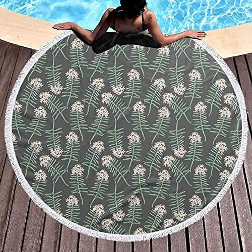 Toalla de playa redonda Micorfiber manta de playa Yoga Picnic Mat,Romero ramas hojas botánicas belleza esencia madre naturaleza jardinería, con borlas ultra suave decoración de habitación 59 pulgadas