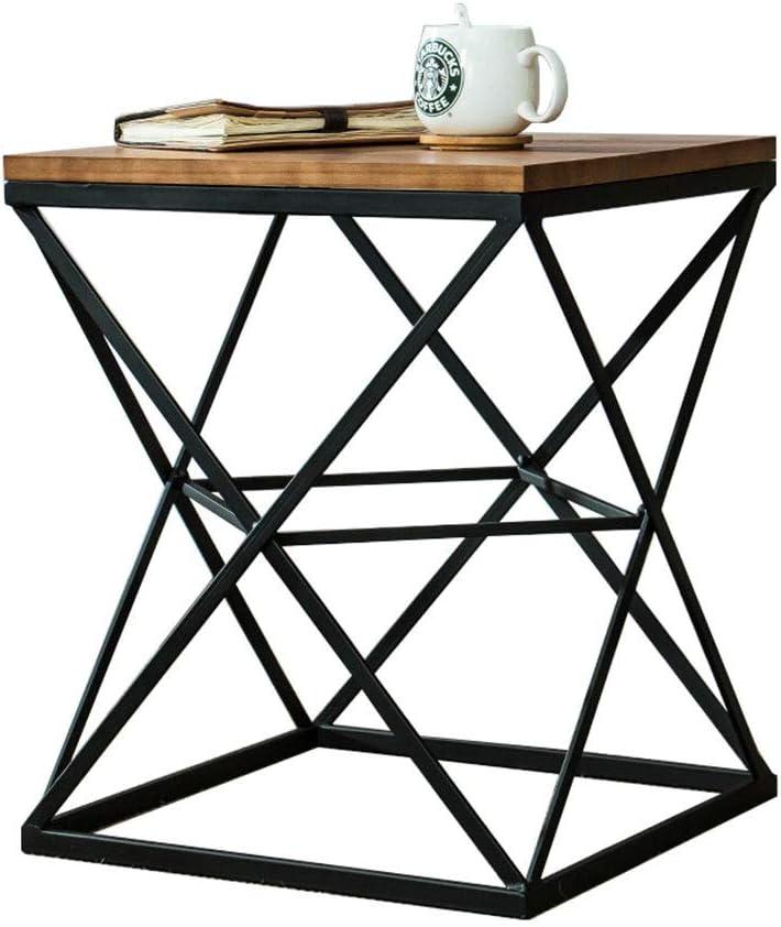 Mesa metal y madera cerezo