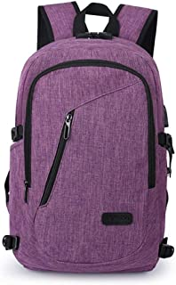 AmazingBag Business Water Resistant Polyester Laptop Backpack with USB Charging Port and Lock Fits Under 17-Inch Laptop and Notebook (Purple)