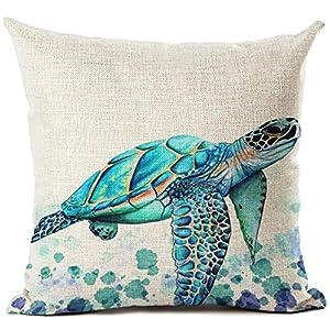 "Beautiful Watercolor Beach Sea Turquoise Color Animals Sea Turtle Swimming Print Cotton Linen Decorative Throw Pillow Case Cushion Cover Square 18 ""X18 """