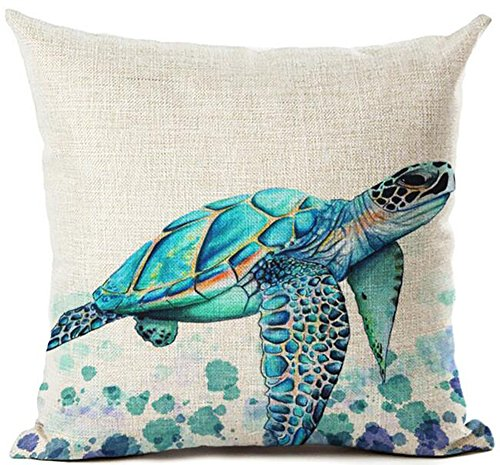 Queen's designer Beautiful Watercolor Beach Sea Turquoise Color Animals Sea Turtle Swimming Print Cotton Linen Decorative Throw Pillow Case Cushion Cover Square 18'X18