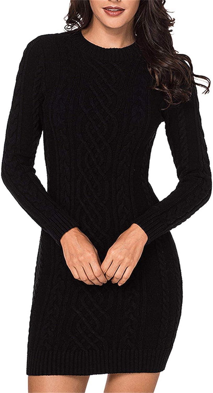 HAM Women's Long Sleeve Crew Neck Slim Knit Sweater Bodycon Midi Dress
