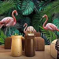 Clhhsy カスタム写真手描きの熱帯雨林バナナの葉赤い鳥緑の壁画壁紙家の装飾3D壁画リビングルーム-400X280Cm