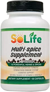 Multi-spice Supplement - Ginger Turmeric Supplement, Black Pepper Extract Garlic Rosemary Cardamom Thyme Parsley Cayenne &...