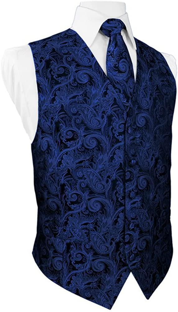 Cardi Tapestry Royal Blue Tuxedo Vest and Coordinating Tapestry Tie