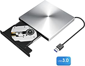 TOPELEK Grabadora y Lector CD/DVD Unidad Externa Portatil con USB 3.0 de Alumino, Nueva Unidad Optica Externa Ultra Silm Compatible con Windows/Mac OS para Apple/iMac/Macbook Air/PC/Notebook (Plata)