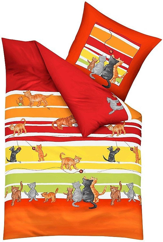 KAEPPEL Feinbiber-Kinderbettwäsche Cats, 2-tlg. mit Reißverschluss mandarine, 80X80 135X200 CM B00MBMAXP2