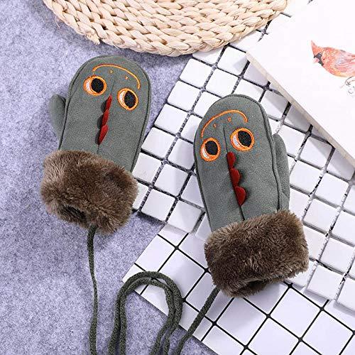 GUANAI Handschuhe Cartoon Dinosaurier hängenden Hals Handschuhe Winter warme süße Dicke Leder Sport Ski Schneeball Handschuhe grün A