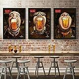 Bar Moderno Pub Decoración Pintura Cartel Cerveza Anime Cartel Cuadros de Pared para Sala de Estar Pintura de Lienzo de Estilo Salvaje sin Marco (50x70cmx3 / sin Marco)