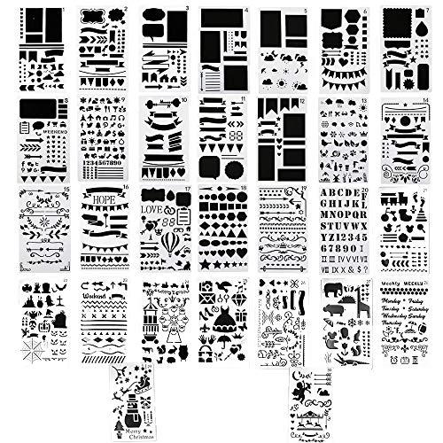 Aweisile 30 Piezas Plantillas Bullet Journal Plantillas para Pintar Plantillas de Dibujo Reutilizable Painting Stencils Plantillas para Diario Manualidades Dibujo Libro de Recuerdos