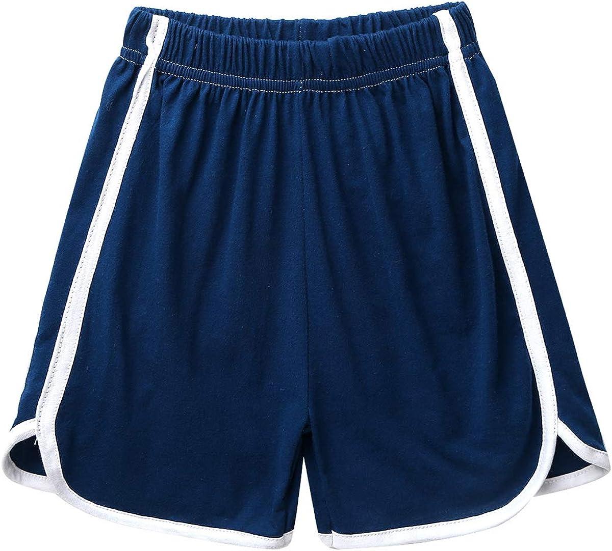 YiZYiF Kids Little Boys Girls Cotton Elastic Casual Running Workout Yoga Shorts Sports Exercise Fitness Short Pants