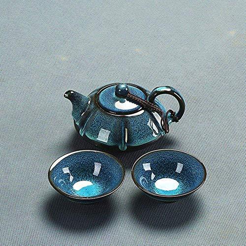 Chinese kung fu theeservies keramiek blauw peper glazuur gebouwd kom set thuis eenvoudig persoonlijkheid keuken verhalen theeceremonie theepot set, 910 LMMS (Color : 1 12)