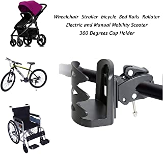 Universal Cup Holder for Wheelchair,Stroller,Bed Rails,Rollator,Transport Chair Accessories, Electric and Manual,Mobility Scooter,Motorized Scooter,360 Degrees Water Bottle, Drink and Cup Holder