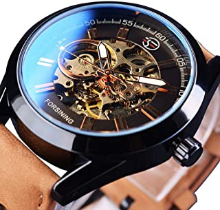 Mechanical Watch Automatic Skeleton Self-Winding for Mens Analog Casual Brown Leather Clock Luminous