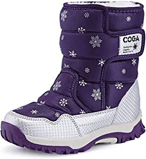 Kids Snow Boots Boys Girls Winter Fur Lined Boots Waterproof Outdoor Hiking Warm Shoes. (Color : Purple, Size : 28)