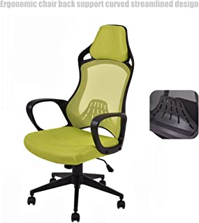 Executive High Back Race Car Style Chair Mesh Seats Soft Sponge Upholstery 360 Degree Swivel Home Office Gaming Desk Task - Green # 1502