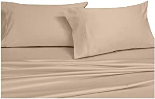 Solid Tan Split-King: Adjustable King Bed Size Sheets, 5PC Bed Sheet Set, 100% Cotton, 300 Thread Count, Sateen Solid, Deep Pocket, by Royal Hotel