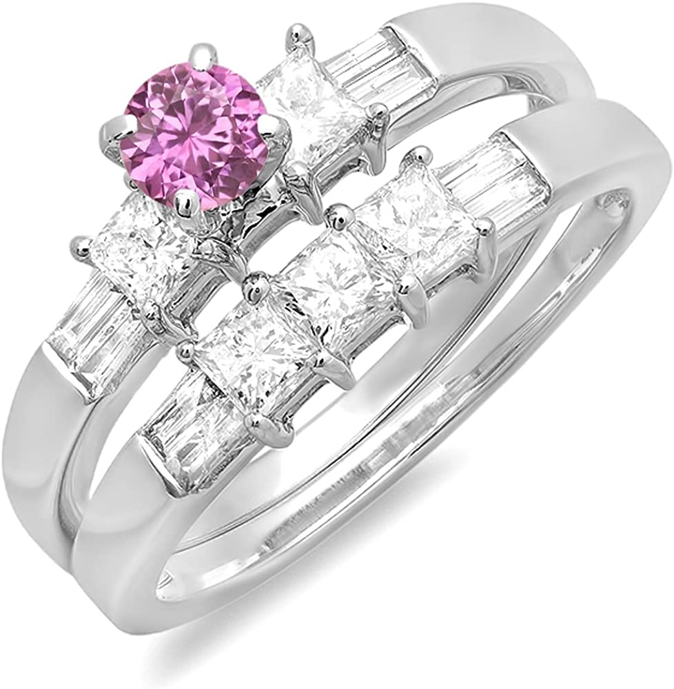Dazzlingrock Collection 14K Gold Pink Sapphire and White Diamond Ladies Bridal Engagement Ring Set