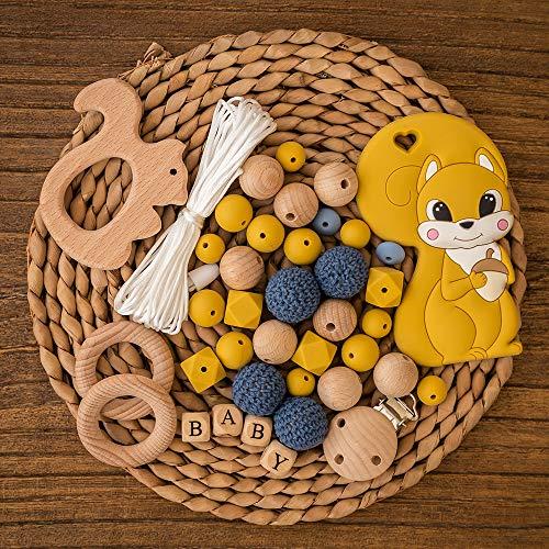 let's make Silikon Beißringe aus Holz Baby Beißring Dummy Clip DIY BPA freie Schnullerkette Herstellen Kaubare Krankenpflege Halskette
