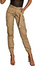 Milumia Women Cargo Work Utility Pants Mid Waist Tapered Office Trousers Pockets