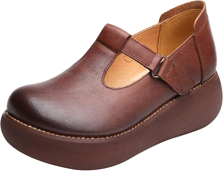 Ggudd Women's Mary Jane Falts T-Strap Platform shoes