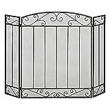 HOMCOM Salvachispas Plegable para Chimenea Pantalla Triple Protector para Estufas 3 Paneles con Bisagras Estructura de Metal y Alambre Decorativo 105x80,5 cm Negro