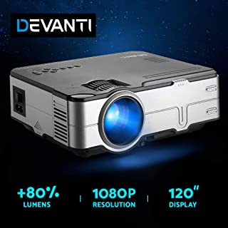 Devanti 2800 Lumens Portable Mini Video Projector with 120''Projection Size for 1080P Home Cinema Movies Video Game Outdoo...