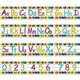 Set de Tiras de Tablón de Anuncios de Alfabeto Decoraciones de Aula de Pared de Número de Alfabeto Incluyendo Números 0 - 9 y Puntos Adhesivos para Decoraciones de Cuarto Guardería Juegos, 12 Hojas
