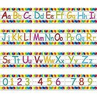 アルファベット 掲示板ストリップセット アルファベット番号 壁 教室デコレーション 0-9の数字と粘着ドット付き プレイルーム 寝室 保育室 装飾 12シート