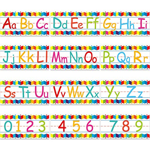 Alphabet Bulletin Board Strips Set Alphabet Number Wall Classroom Decorations Including Numbers 0-9 and Adhesive Dots for Playroom Bedroom Nursery Room Decorations, 12 Sheets