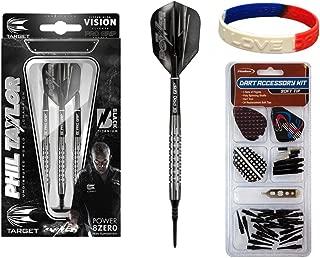 TARGET Phil Taylor Power 8Zero Black Titanium Soft Tip Darts-17g 80% Tungsten Barrels Plus Soft Tip Accessory Kit & Bracelet