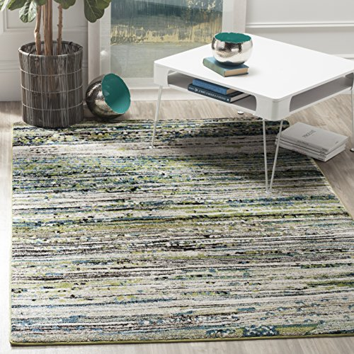 """Safavieh Porcello Collection PRL6944L Modern Non-Shedding Stain Resistant Living Room Bedroom Area Rug, 6'7"""" x 9', Cream / Green"""