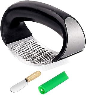 Garlic Press Rocker, Stainless Steel Garlic Crusher Chopper Mincer Squeezer Easy Clean, Rust Proof, Dishwasher Safe
