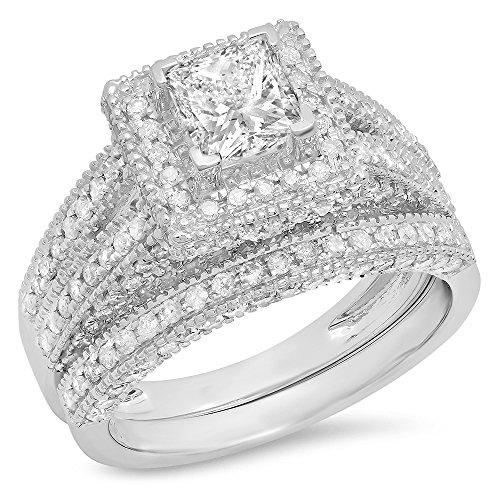 Dazzlingrock Collection Juego de anillos de compromiso vintage de 2 quilates de oro de 14 quilates y diamante blanco redondo de 2 quilates
