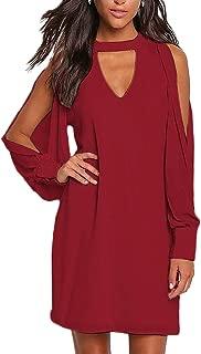 Cold Shoulder Long Sleeve Mini Dress for Women Sexy Chocker V Neck Chiffon Tunic Dresses
