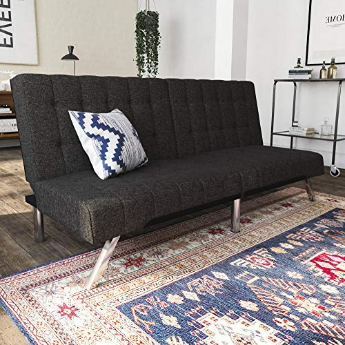 DHP Emily Futon Couch Bed, Modern Sofa Design Includes Sturdy Chrome Legs and Rich Linen Upholstery, Grey